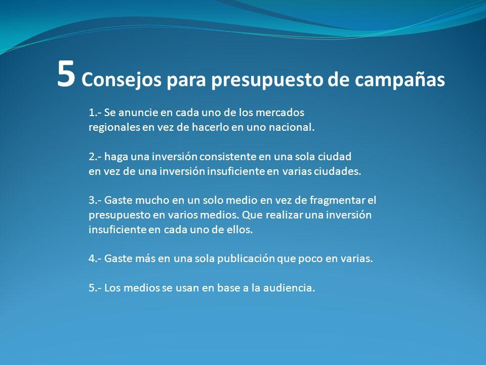 5 Consejos para presupuesto de campañas 1.- Se anuncie en cada uno de los mercados regionales en vez de hacerlo en uno nacional. 2.- haga una inversió
