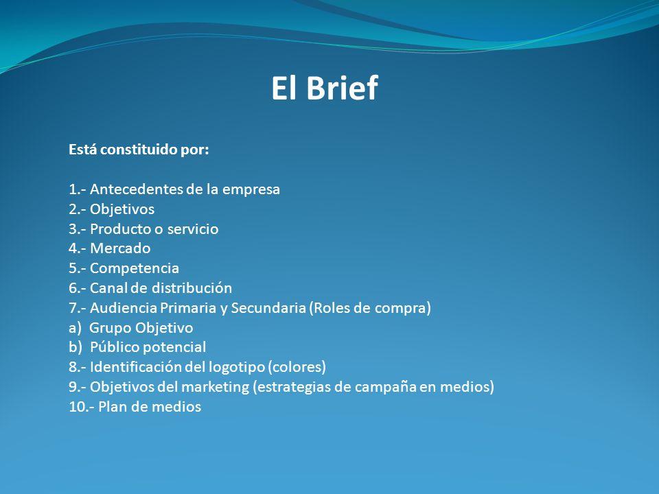 El Brief Está constituido por: 1.- Antecedentes de la empresa 2.- Objetivos 3.- Producto o servicio 4.- Mercado 5.- Competencia 6.- Canal de distribuc
