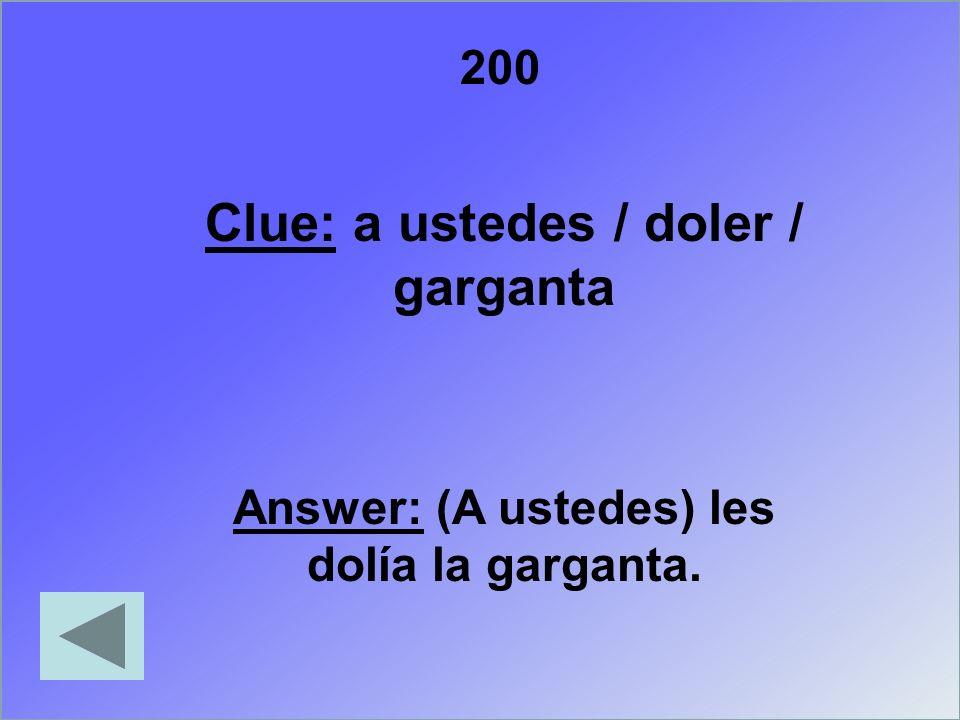 300 Clue: Write the names of three types of merchandise found at a pharmacy Answer: el antibiótico, la aspirina, el medicamento, la medicina, la pastilla, la receta