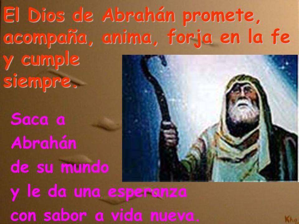 El Dios de Abrahán promete, acompaña, anima, forja en la fe y cumple siempre. Saca a Abrahán de su mundo y le da una esperanza con sabor a vida nueva.