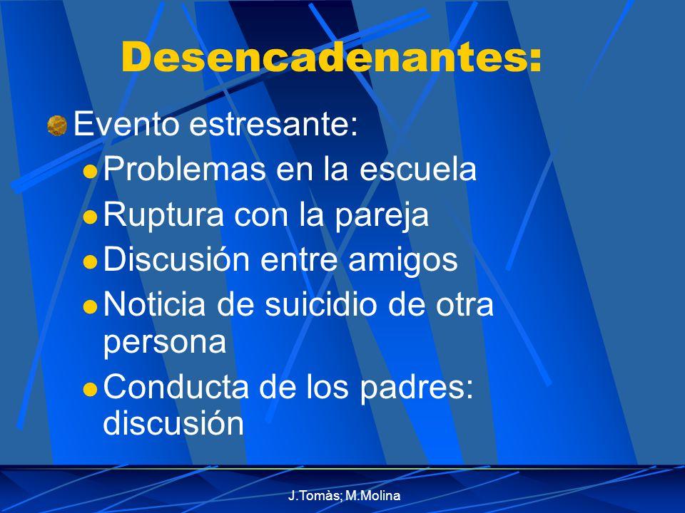 J.Tomàs; M.Molina Desencadenantes: Evento estresante: Problemas en la escuela Ruptura con la pareja Discusión entre amigos Noticia de suicidio de otra persona Conducta de los padres: discusión