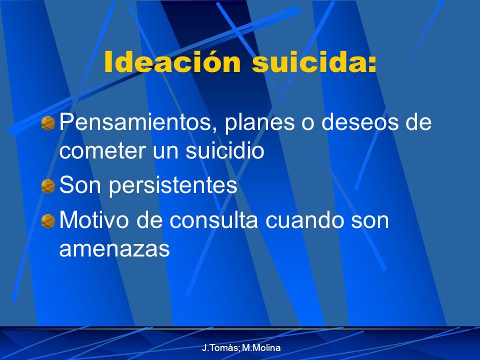 J.Tomàs; M.Molina Ideación suicida: Pensamientos, planes o deseos de cometer un suicidio Son persistentes Motivo de consulta cuando son amenazas