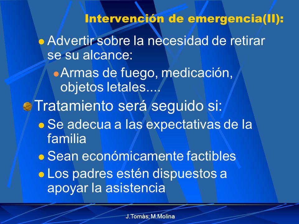 J.Tomàs; M.Molina Intervención de emergencia(II): Advertir sobre la necesidad de retirar se su alcance: Armas de fuego, medicación, objetos letales....