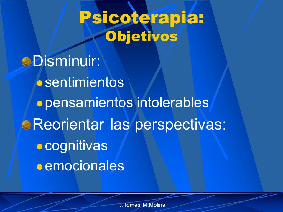 J.Tomàs; M.Molina Psicoterapia: Objetivos Disminuir: sentimientos pensamientos intolerables Reorientar las perspectivas: cognitivas emocionales