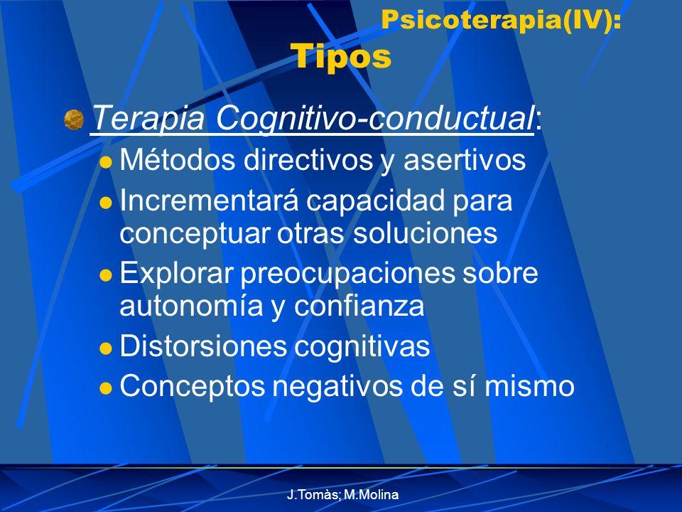 J.Tomàs; M.Molina Psicoterapia(IV): Tipos Terapia Cognitivo-conductual: Métodos directivos y asertivos Incrementará capacidad para conceptuar otras soluciones Explorar preocupaciones sobre autonomía y confianza Distorsiones cognitivas Conceptos negativos de sí mismo
