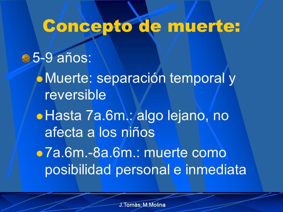 J.Tomàs; M.Molina Concepto de muerte: 5-9 años: Muerte: separación temporal y reversible Hasta 7a.6m.: algo lejano, no afecta a los niños 7a.6m.-8a.6m.: muerte como posibilidad personal e inmediata