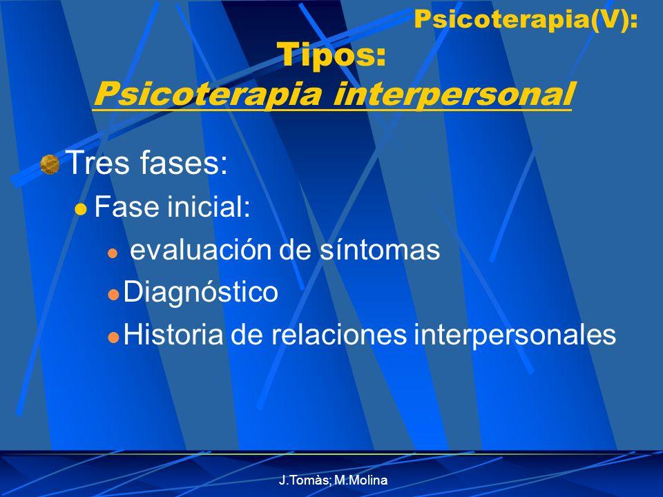 J.Tomàs; M.Molina Psicoterapia(V): Tipos: Psicoterapia interpersonal Tres fases: Fase inicial: evaluación de síntomas Diagnóstico Historia de relaciones interpersonales