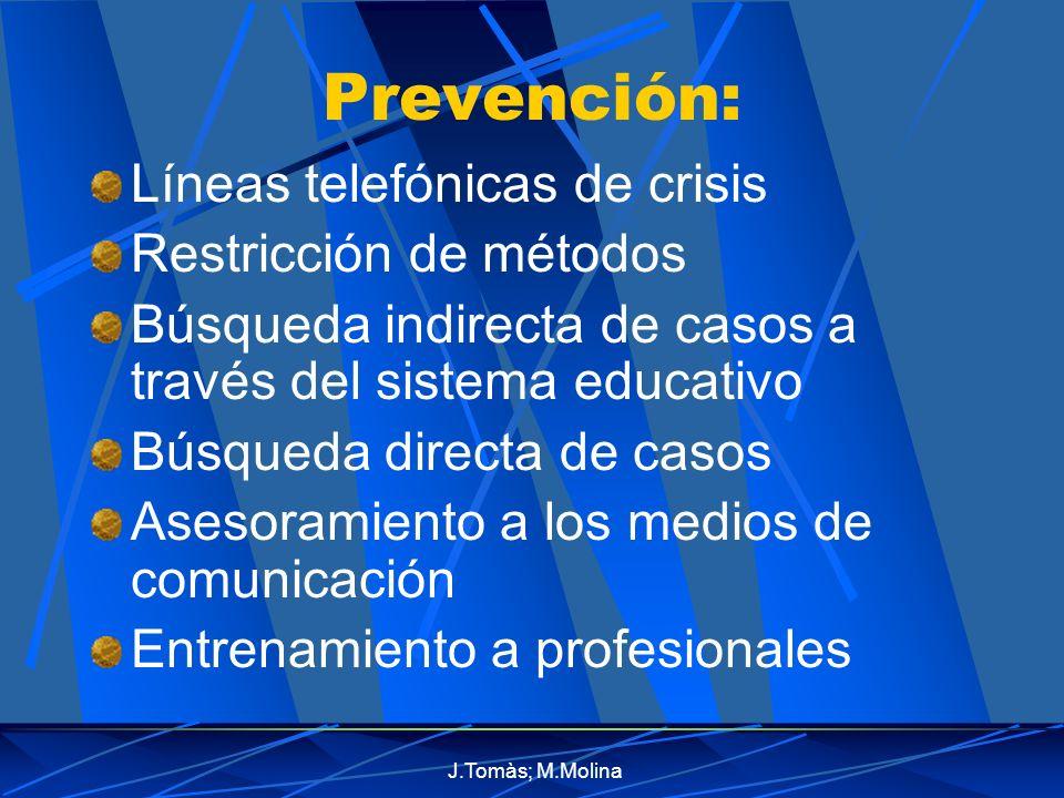 J.Tomàs; M.Molina Prevención: Líneas telefónicas de crisis Restricción de métodos Búsqueda indirecta de casos a través del sistema educativo Búsqueda directa de casos Asesoramiento a los medios de comunicación Entrenamiento a profesionales