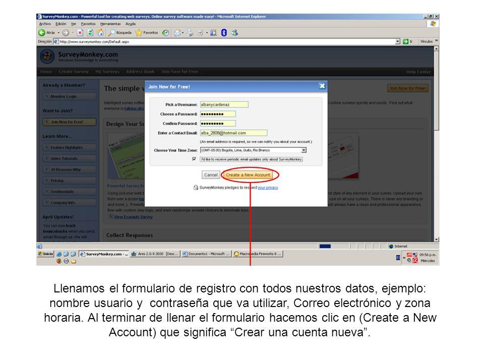 Luego que nos hayamos registrado en surveymonkey.com, verificamos que hallamos iniciado sesión correctamente en el lado superior derecho de la página, que dirá el nombre de usuario con el cual nos hemos registrado.