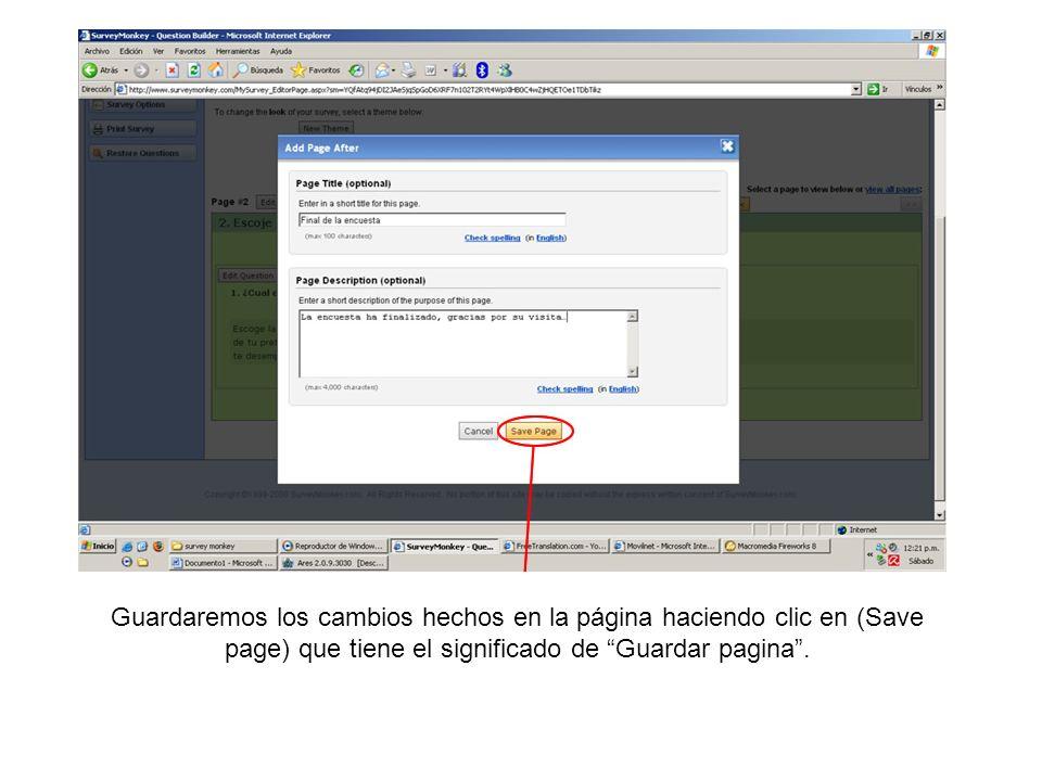 Guardaremos los cambios hechos en la página haciendo clic en (Save page) que tiene el significado de Guardar pagina.