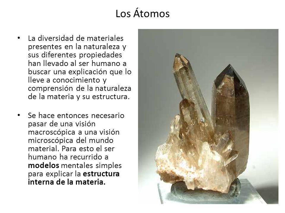 Los Átomos La diversidad de materiales presentes en la naturaleza y sus diferentes propiedades han llevado al ser humano a buscar una explicación que