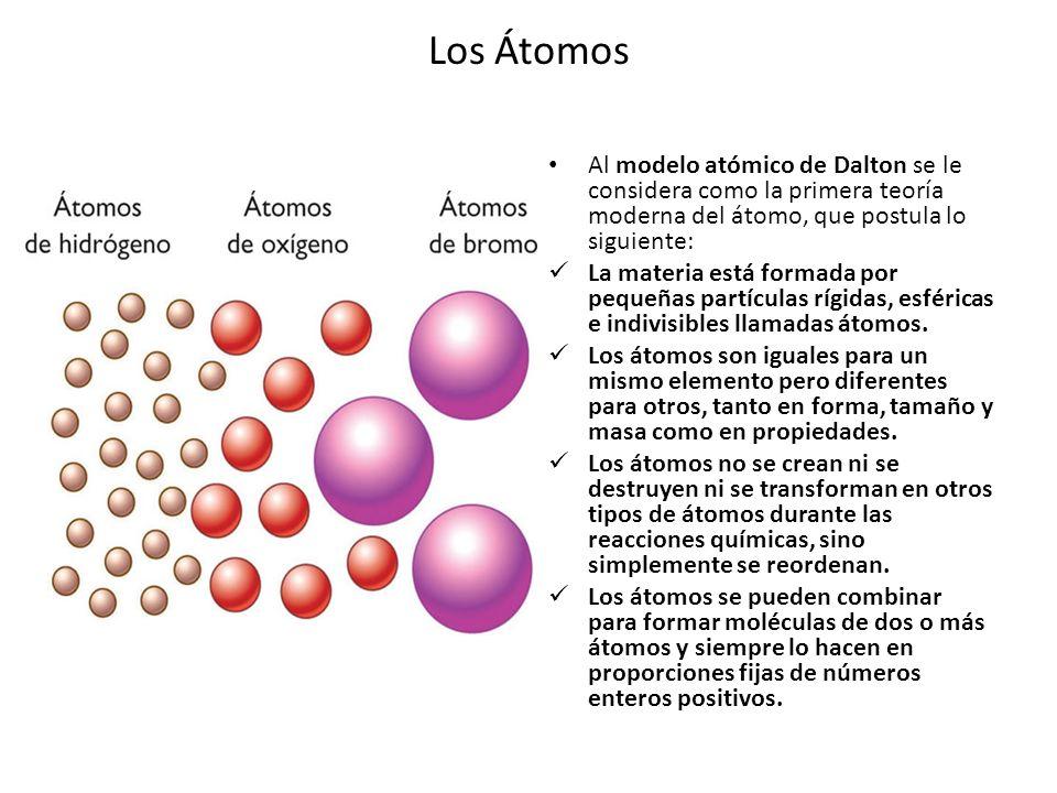 Los Átomos Al modelo atómico de Dalton se le considera como la primera teoría moderna del átomo, que postula lo siguiente: La materia está formada por