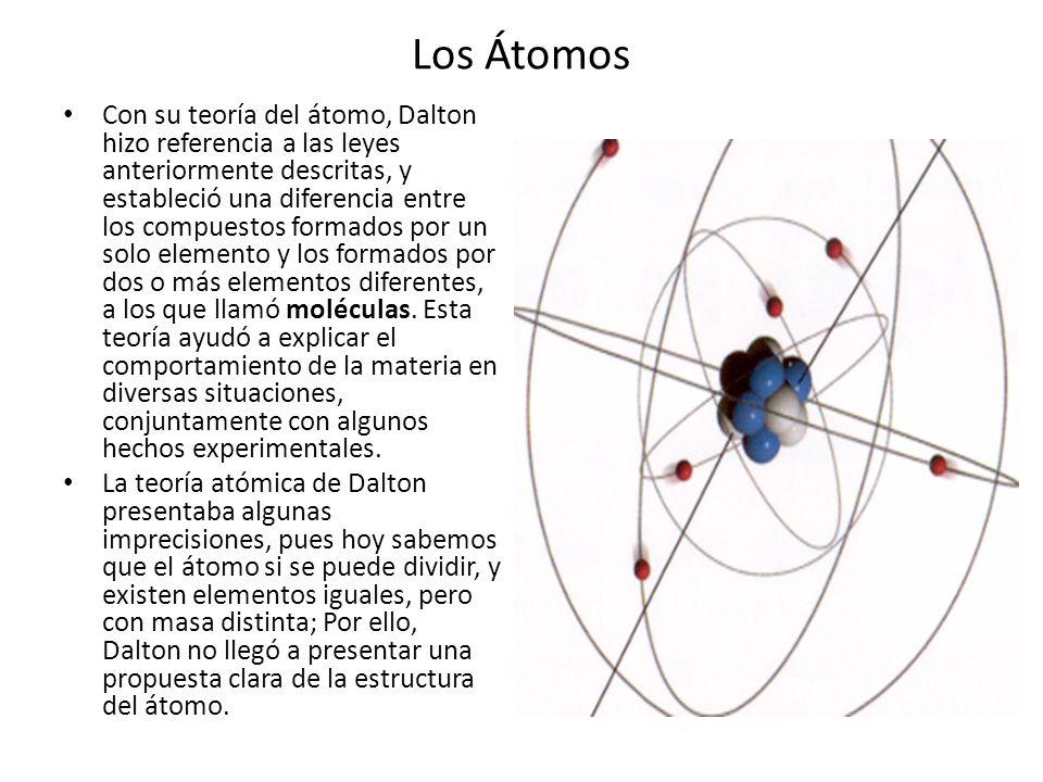 Los Átomos Con su teoría del átomo, Dalton hizo referencia a las leyes anteriormente descritas, y estableció una diferencia entre los compuestos forma