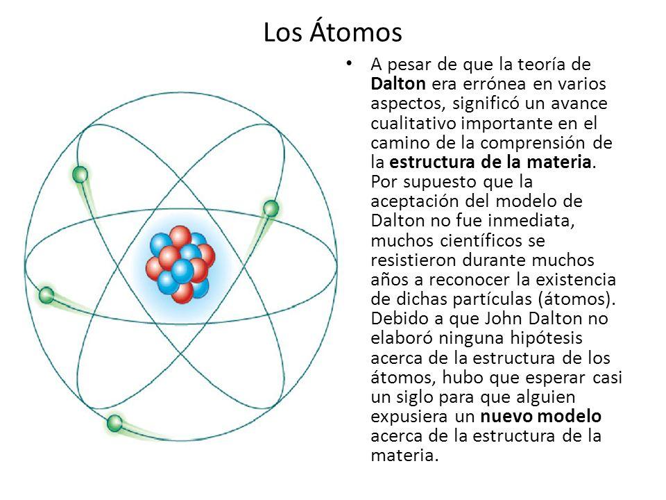Los Átomos A pesar de que la teoría de Dalton era errónea en varios aspectos, significó un avance cualitativo importante en el camino de la comprensió