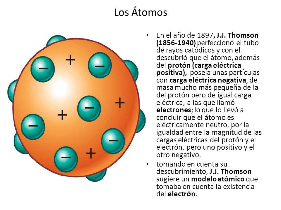 Los Átomos En el año de 1897, J.J. Thomson (1856-1940) perfeccionó el tubo de rayos catódicos y con el descubrió que el átomo, además del protón (carg