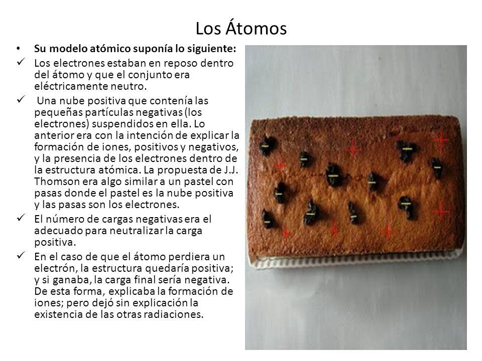 Los Átomos Su modelo atómico suponía lo siguiente: Los electrones estaban en reposo dentro del átomo y que el conjunto era eléctricamente neutro. Una