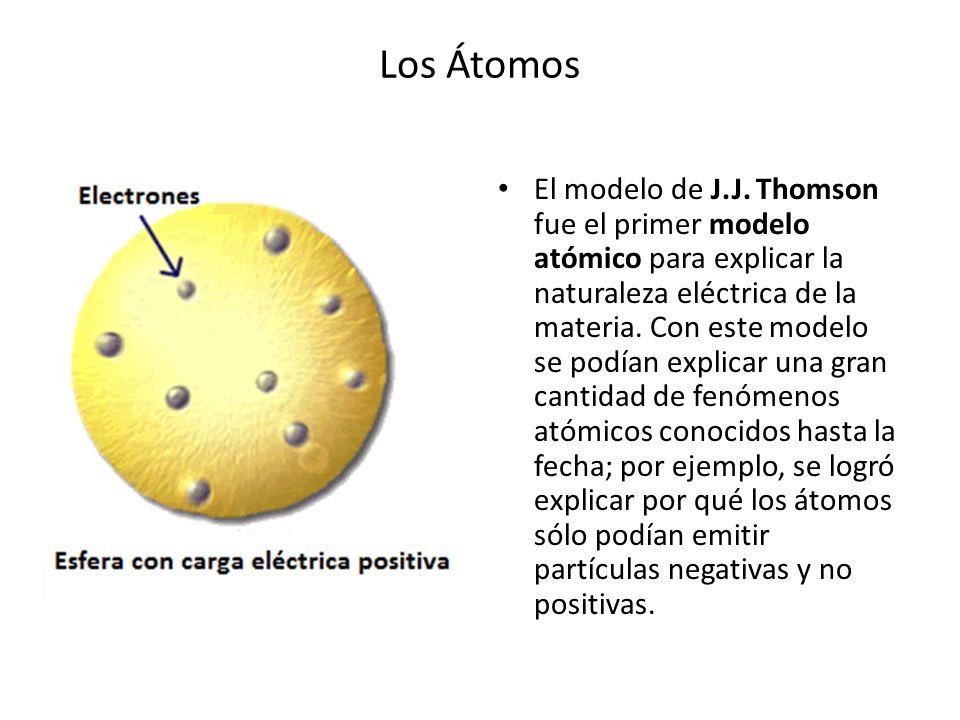 Los Átomos El modelo de J.J. Thomson fue el primer modelo atómico para explicar la naturaleza eléctrica de la materia. Con este modelo se podían expli