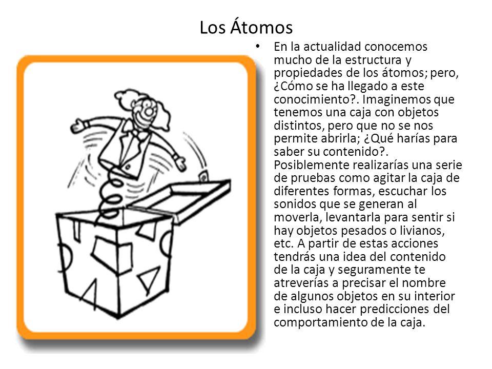 Los Átomos Al igual que la caja, puesto que no podemos ver el interior de los átomos, lo que hacemos es emplear nuestro sentidos y herramientas para crear un modelo, que explique el comportamiento de los mismos Los modelos científicos son ideas o representaciones que intentan explicar los fenómenos observados.