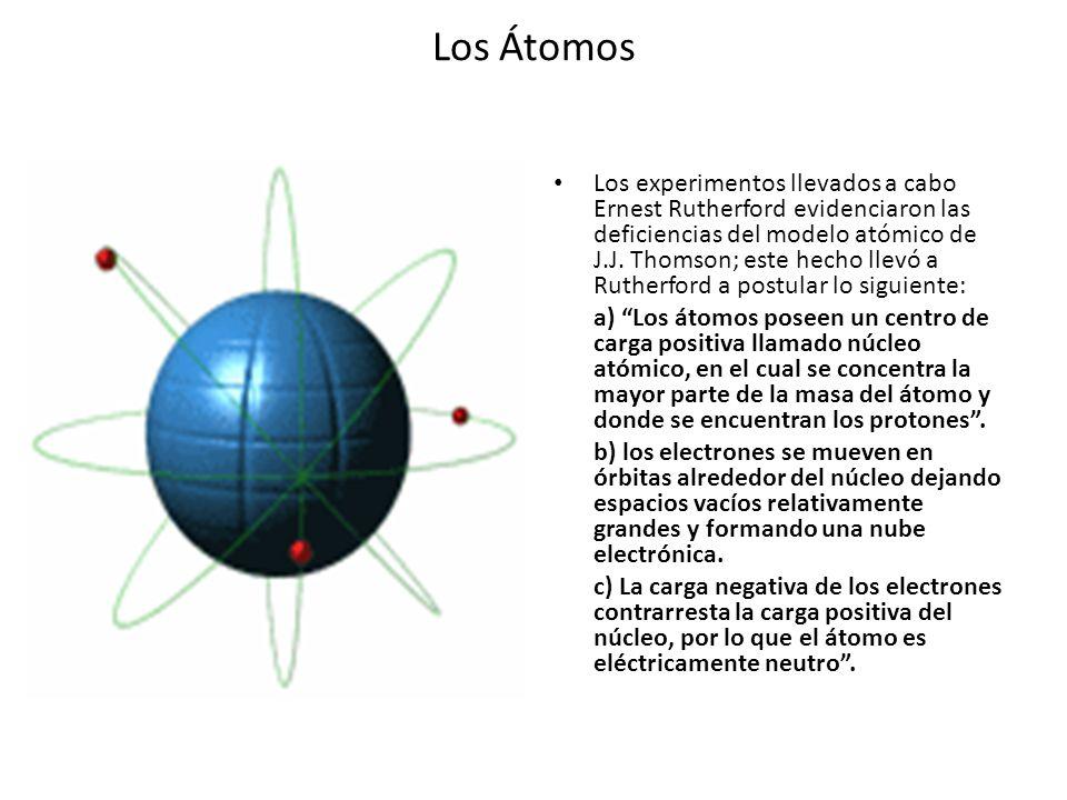 Los Átomos Los experimentos llevados a cabo Ernest Rutherford evidenciaron las deficiencias del modelo atómico de J.J. Thomson; este hecho llevó a Rut