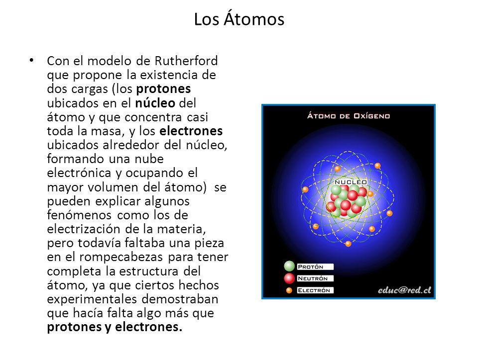 Los Átomos Con el modelo de Rutherford que propone la existencia de dos cargas (los protones ubicados en el núcleo del átomo y que concentra casi toda