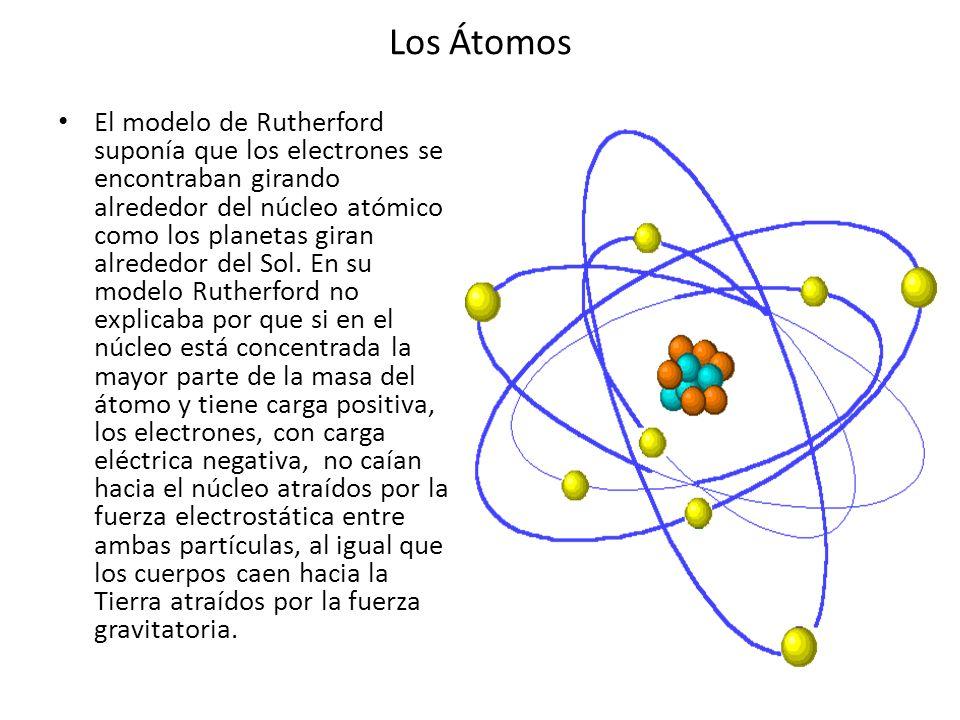 Los Átomos El modelo de Rutherford suponía que los electrones se encontraban girando alrededor del núcleo atómico como los planetas giran alrededor de