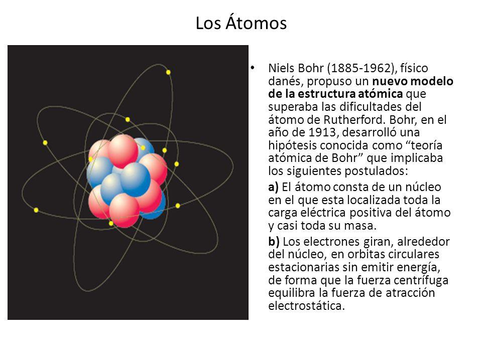 Los Átomos Niels Bohr (1885-1962), físico danés, propuso un nuevo modelo de la estructura atómica que superaba las dificultades del átomo de Rutherfor