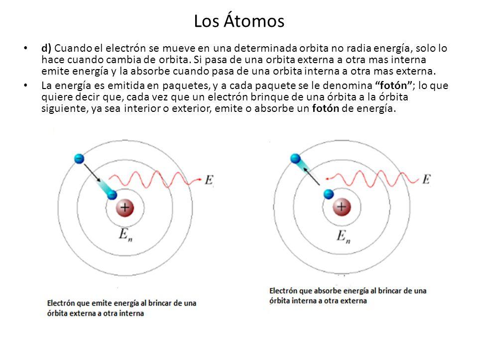 Los Átomos d) Cuando el electrón se mueve en una determinada orbita no radia energía, solo lo hace cuando cambia de orbita. Si pasa de una orbita exte