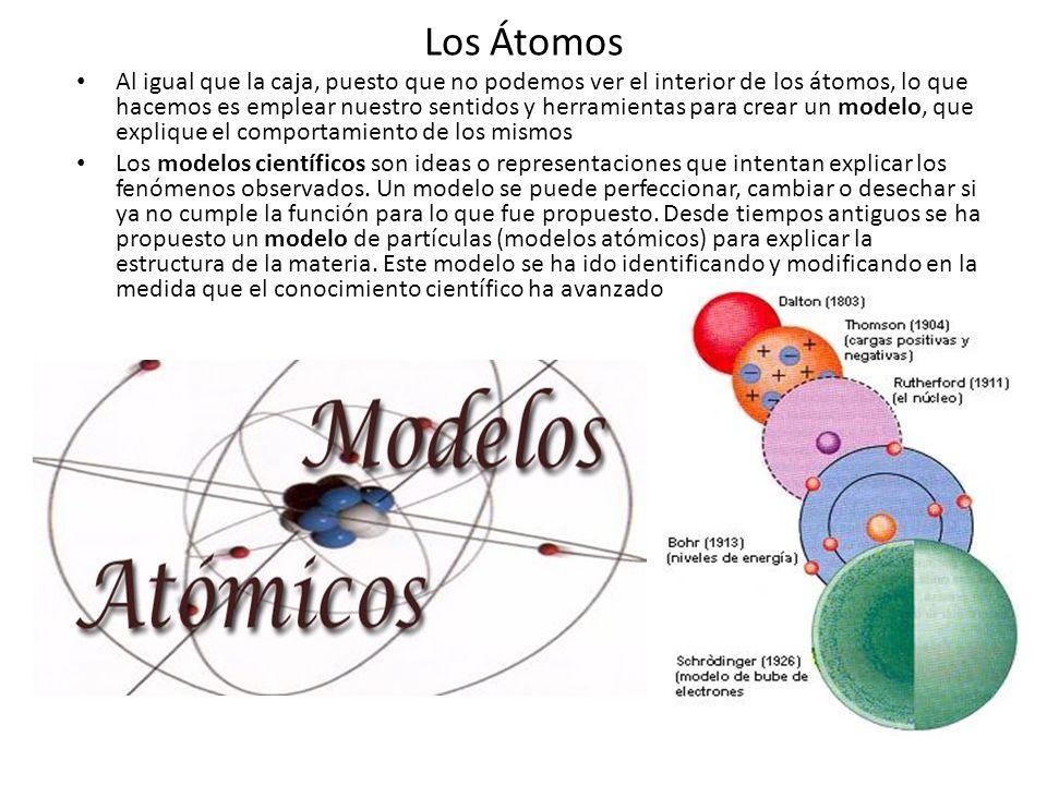 Los Átomos Al igual que la caja, puesto que no podemos ver el interior de los átomos, lo que hacemos es emplear nuestro sentidos y herramientas para c