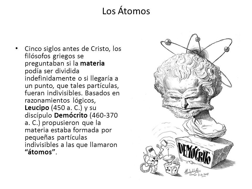 Los Átomos La teoría atomística de Demócrito y Leucipo dice así: Toda la materia existente en el Universo esta formada por átomos sólidos.