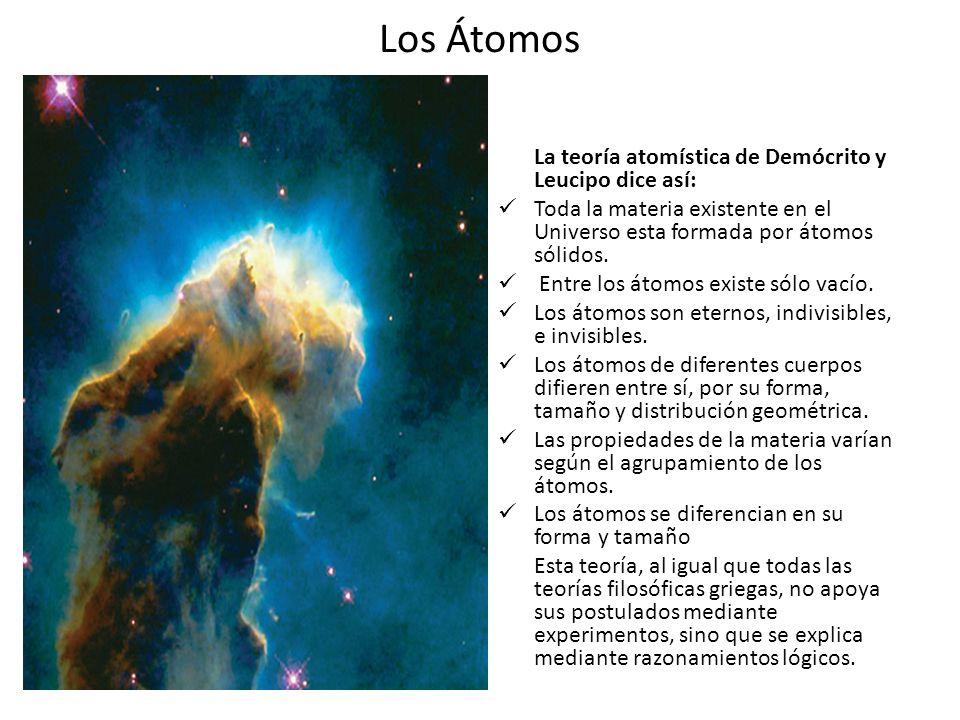 Los Átomos La teoría atomística de Demócrito y Leucipo dice así: Toda la materia existente en el Universo esta formada por átomos sólidos. Entre los á