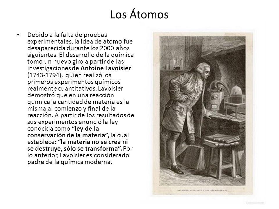 Los Átomos Debido a la falta de pruebas experimentales, la idea de átomo fue desaparecida durante los 2000 años siguientes. El desarrollo de la químic