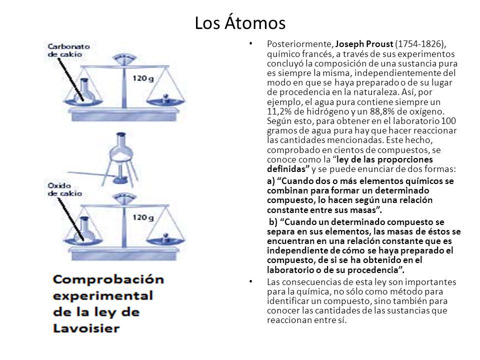 Los Átomos Posteriormente, Joseph Proust (1754-1826), químico francés, a través de sus experimentos concluyó la composición de una sustancia pura es s