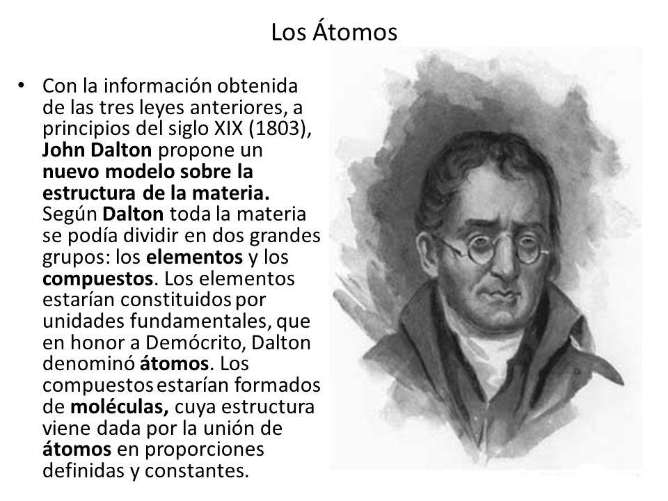 Los Átomos Con la información obtenida de las tres leyes anteriores, a principios del siglo XIX (1803), John Dalton propone un nuevo modelo sobre la e