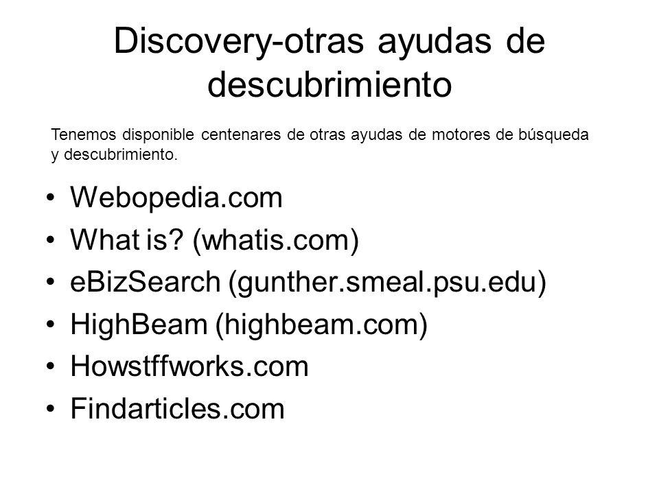 Discovery-otras ayudas de descubrimiento Webopedia.com What is.
