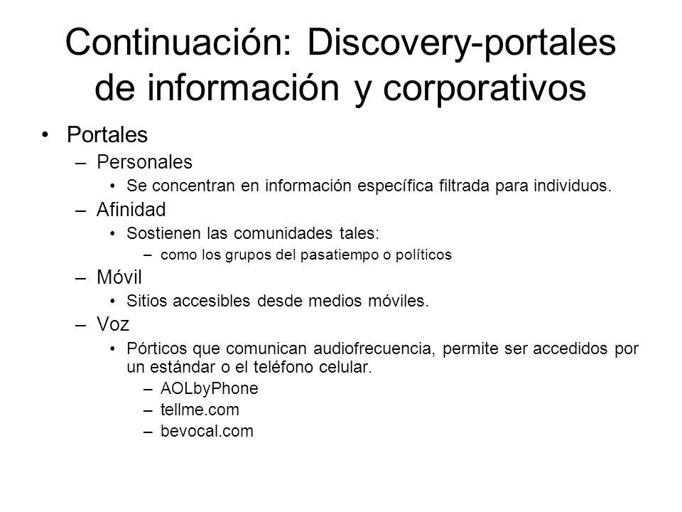 Continuación: Discovery-portales de información y corporativos Portales –Personales Se concentran en información específica filtrada para individuos.