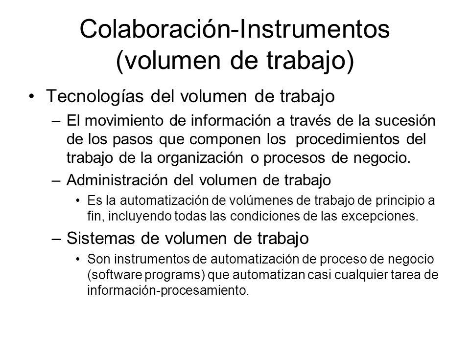 Colaboración-Instrumentos (volumen de trabajo) Tecnologías del volumen de trabajo –El movimiento de información a través de la sucesión de los pasos que componen los procedimientos del trabajo de la organización o procesos de negocio.
