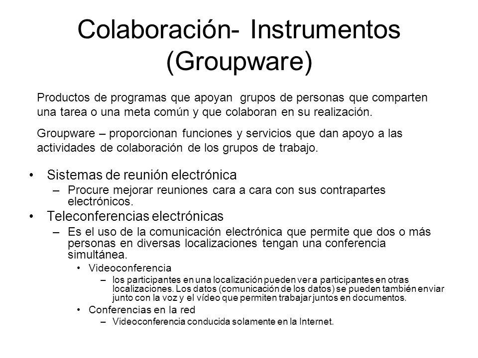 Colaboración- Instrumentos (Groupware) Sistemas de reunión electrónica –Procure mejorar reuniones cara a cara con sus contrapartes electrónicos.