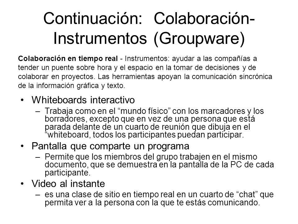 Continuación: Colaboración- Instrumentos (Groupware) Whiteboards interactivo –Trabaja como en el mundo físico con los marcadores y los borradores, excepto que en vez de una persona que está parada delante de un cuarto de reunión que dibuja en el whiteboard, todos los participantes puedan participar.