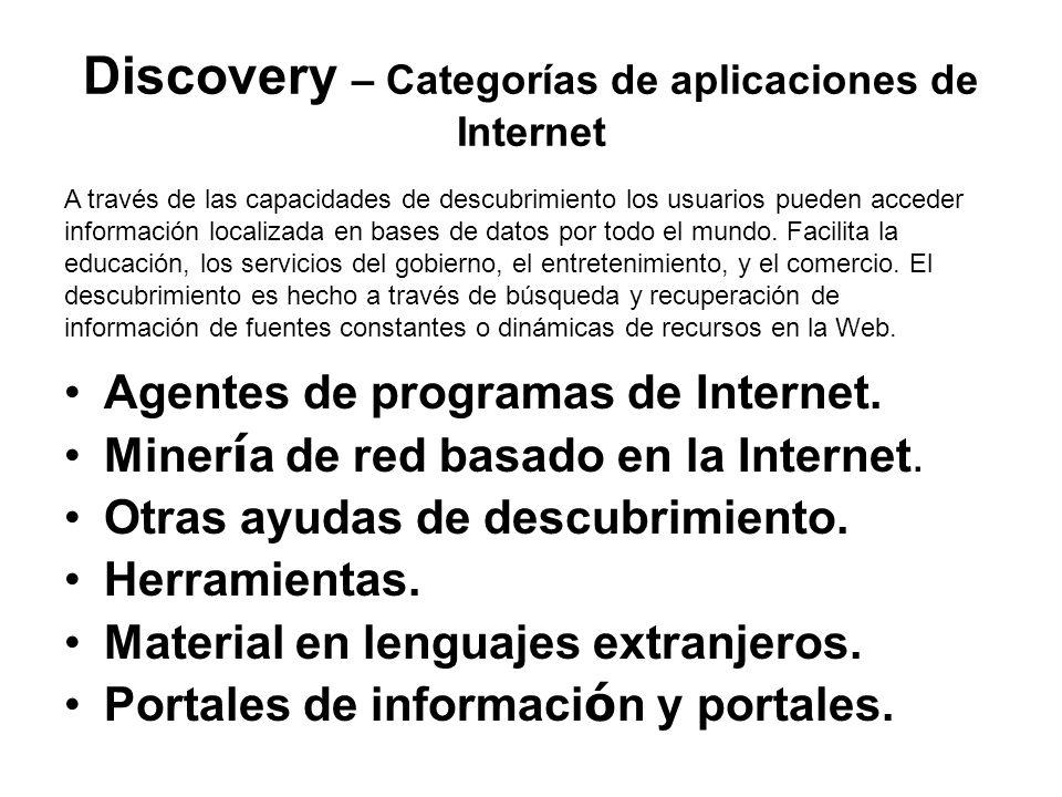 Discovery – Categorías de aplicaciones de Internet Agentes de programas de Internet.