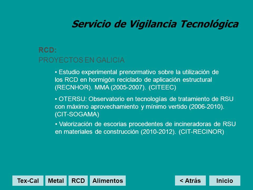 Servicio de Vigilancia Tecnológica RCD: PROYECTOS EN GALICIA < Atrás Inicio Estudio experimental prenormativo sobre la utilización de los RCD en hormi