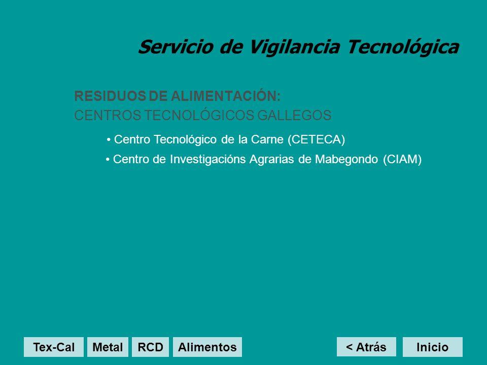 Servicio de Vigilancia Tecnológica RESIDUOS DE ALIMENTACIÓN: CENTROS TECNOLÓGICOS GALLEGOS Centro Tecnológico de la Carne (CETECA) < Atrás Inicio Cent