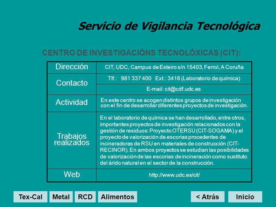 Servicio de Vigilancia Tecnológica CENTRO DE INVESTIGACIÓNS TECNOLÓXICAS (CIT): < Atrás Inicio Dirección CIT, UDC, Campus de Esteiro s/n 15403, Ferrol, A Coruña Contacto Tlf.: 981 337 400 Ext.: 3416 (Laboratorio de química) E-mail: cit@cdf.udc.es Actividad En este centro se acogen distintos grupos de investigación con el fin de desarrollar diferentes proyectos de investigación.