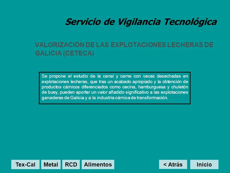 Servicio de Vigilancia Tecnológica VALORIZACIÓN DE LAS EXPLOTACIONES LECHERAS DE GALICIA (CETECA) Se propone el estudio de la canal y carne con vacas