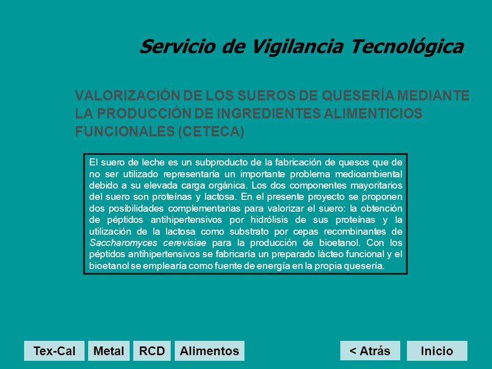 Servicio de Vigilancia Tecnológica VALORIZACIÓN DE LOS SUEROS DE QUESERÍA MEDIANTE LA PRODUCCIÓN DE INGREDIENTES ALIMENTICIOS FUNCIONALES (CETECA) El