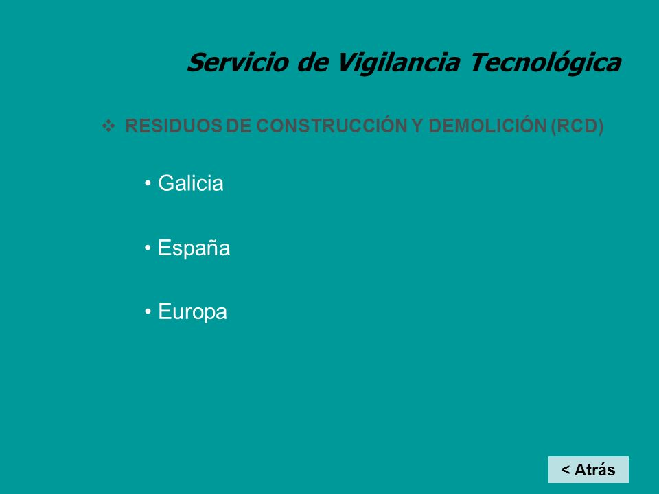 Servicio de Vigilancia Tecnológica RCD: ASOCIACIONES GALLEGAS Asociación de Recicladores de Construcción y Demolición de Galicia (ARCODEGA) Asociación de Recicladores de Construcción y Demolición de Galicia (ARCODEGA) < Atrás InicioTex-Cal MetalRCD Alimentos