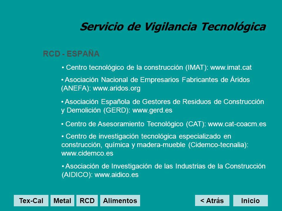 Servicio de Vigilancia Tecnológica RCD - ESPAÑA < Atrás Inicio Centro tecnológico de la construcción (IMAT): www.imat.cat Asociación Nacional de Empresarios Fabricantes de Áridos (ANEFA): www.aridos.org Tex-Cal MetalRCD Alimentos Asociación Española de Gestores de Residuos de Construcción y Demolición (GERD): www.gerd.es Centro de Asesoramiento Tecnológico (CAT): www.cat-coacm.es Centro de investigación tecnológica especializado en construcción, química y madera-mueble (Cidemco-tecnalia): www.cidemco.es Asociación de Investigación de las Industrias de la Construcción (AIDICO): www.aidico.es