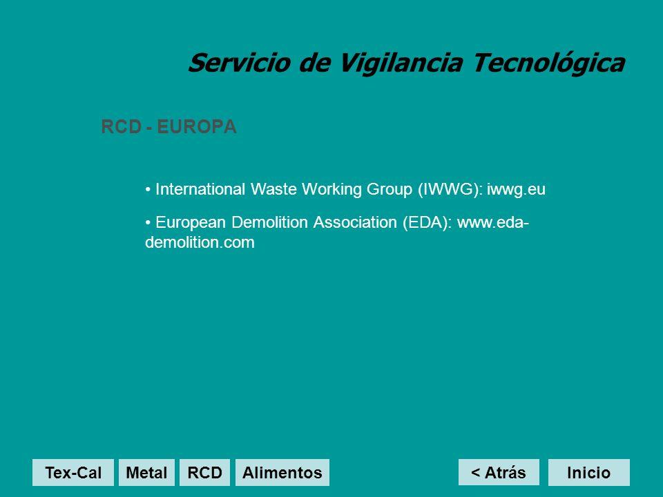 Servicio de Vigilancia Tecnológica RCD - EUROPA < Atrás Inicio International Waste Working Group (IWWG): iwwg.eu Tex-Cal MetalRCD Alimentos European D