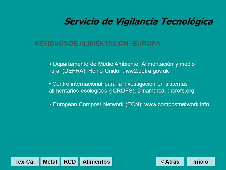 Servicio de Vigilancia Tecnológica RESIDUOS DE ALIMENTACIÓN - EUROPA < Atrás Inicio Departamento de Medio Ambiente, Alimentación y medio rural (DEFRA).