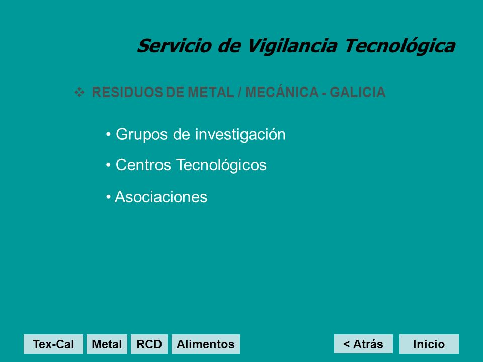 Servicio de Vigilancia Tecnológica RCD - GALICIA Centros Tecnológicos Grupos de investigación Asociaciones Proyectos < Atrás InicioTex-Cal MetalRCD Alimentos