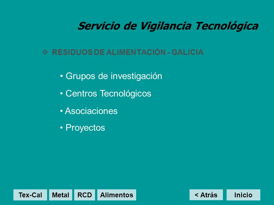 Servicio de Vigilancia Tecnológica RESIDUOS DE ALIMENTACIÓN - GALICIA Centros Tecnológicos Grupos de investigación Asociaciones Proyectos < Atrás Inic